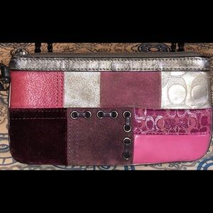 Coach Gray & Pink Patchwork Wallet Wristlet